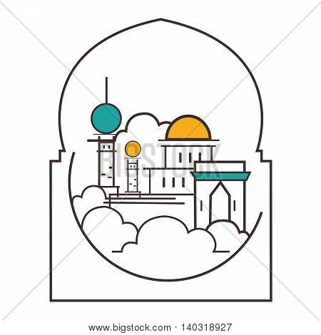 mosque dome minaret illustration line outline style icon of Islam vector
