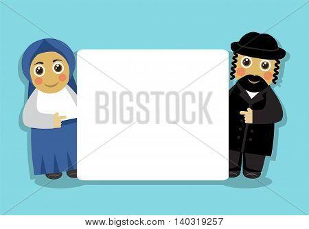 orthodox Jewish couple and blank white background
