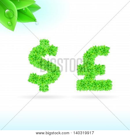 Sans serif font with green leaf decoration on white background. Dollar and pound sterling signs