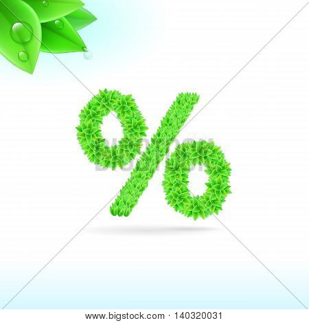Sans serif font with green leaf decoration on white background. Per cent sign