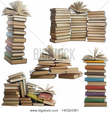 Books collection isolated on white background. Open, hardback book
