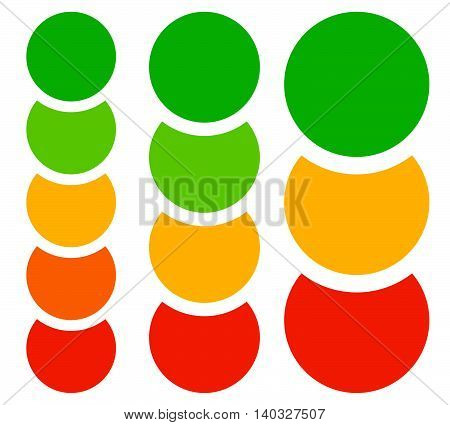 Vertical Chart, Graph Elements, Templates With 5, 4 And 3 Circles
