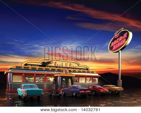 Retro American diner at dusk