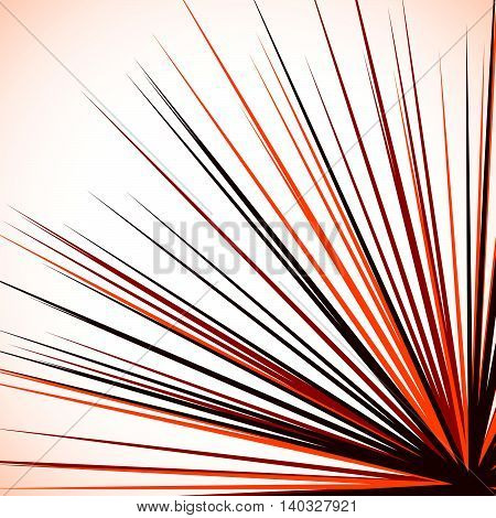Abstract Edgy Graphic With Radial Lines Spreading From Corner. Sharp Burst Element With Radiating Li