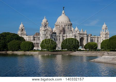 Historic Victoria Memorial at Kolkata. Mughal British architectural monument built with pure white marble.