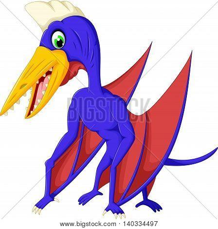 cute pterodactyl posing cartoon for you design
