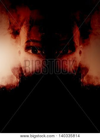 Horror mannequin,retro scary background for book cover
