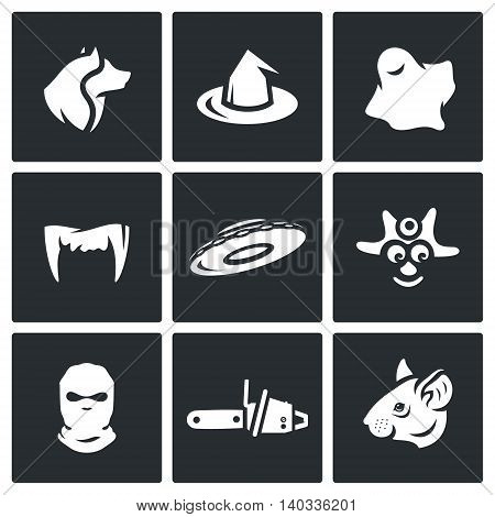 Wolf, Cap, Ghost, Tusks, Flying Saucer, Savage, Balaklava, Chainsaw, Mouse.