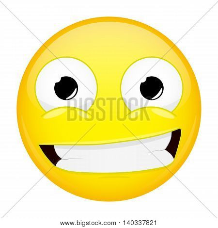 Smiling emoji. Smirk emotion. Grin emoticon. Vector illustration smile icon. poster