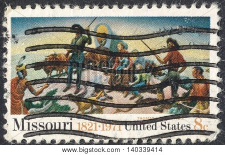 MOSCOW RUSSIA - CIRCA APRIL 2016: a post stamp printed in the USA devoted to the 150th Anniversary of Missouri Statehood circa 1971