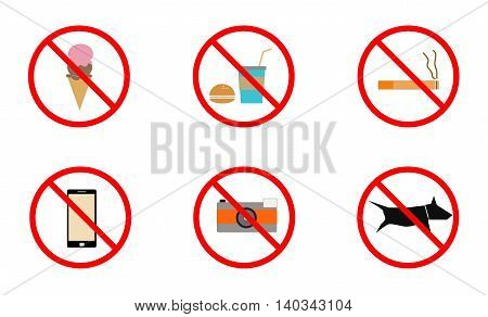 No smoking No cell phone No dogs and No eating prohibited signs isolated on white background Signs forbidding different actions in various places. Signs are located on a white background. Vector.