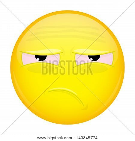 Tired emoji. Bad emotion. Unhappy emoticon. Vector illustration smile icon.