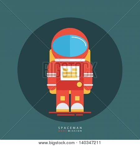 Spaceman in red spacesuit and helmet. Astronaut icon. Flat style design vector illustration.