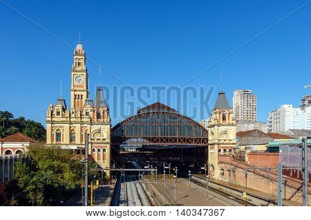Luz Station With Blue Sky In Sao Paulo