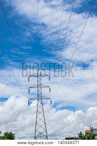 High Voltage Lines And Power Pylons Tower
