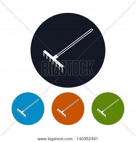Icon Garden Rake, Four Types of Round Icons Bow Rake ,Agricultural Tool, Vector Illustration