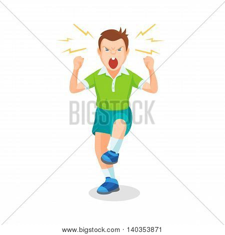 Boy Full Of Anger Is Shouting Something With Aggression