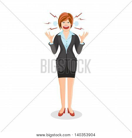 Woman Full Of Anger Is Shouting Something With Aggression
