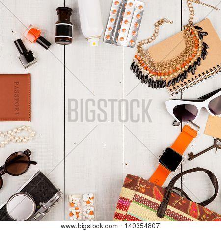Smart Watch, Camera, Passport, Straw Bag, Notepad, Sunglasses, Key, Pills, Cosmetics Makeup And Esse
