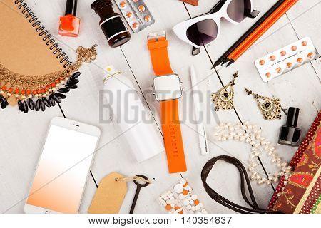 Smart Watch, Smart Phone, Straw Bag, Notepad, Sunglasses, Key, Pills, Cosmetics Makeup And Essential