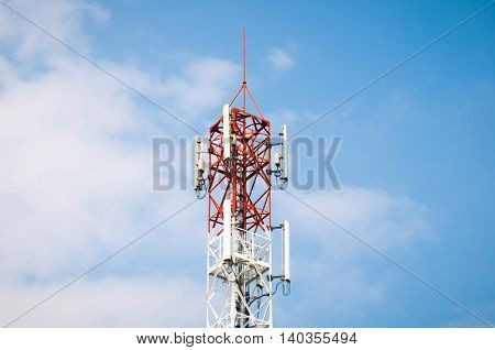 Mobile phone Telecommunication Radio antenna Tower. Cell phone tower.