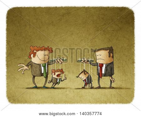Sad and happy businesspeople playing puppets.One puppet is sadother is angry.