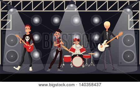 Rock band musicians perform on stage, cartoon illustration. Rock star singer guitarist drummer bassist. Band performance, rock concert, music festival poster