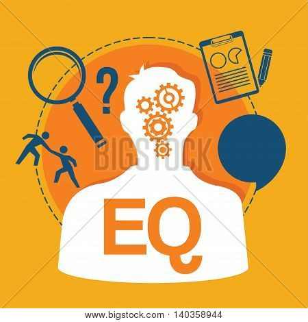EQ emotional quotient intelligence vector illustration design