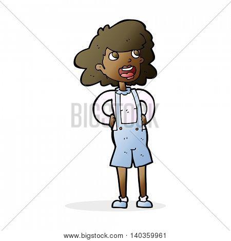 cartoon woman in dungarees