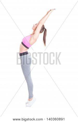 Girl Preparing For Training Stretching Her Body