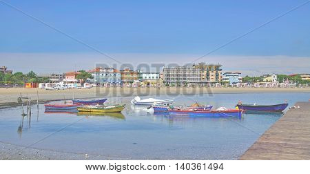 Beach and Village of Caorle at adriatic Sea in Veneto,Italy poster