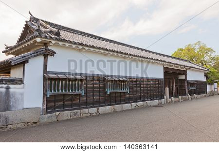 AKO JAPAN - JULY 18 2016: Gate of former residence of Oishi Yoshio in Ako Castle (circa 17th c.). Oishi Kuranosuke (Yoshio) (1659-1703) was a leader of famous 47 loyal samurai (ronin)