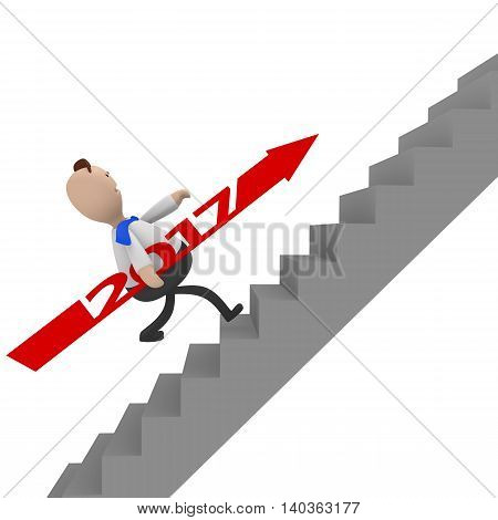Businessman with a red 2017 arrow running upstairs 3d rendering