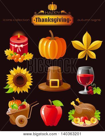 Vector icon set with autumn and thanksgiving food and symbols on black background. Includes candle, pumpkin, chestnut leaf, sunflower, pilgrim hat, wine with grapes, wheelbarrow harvest, roast turkey