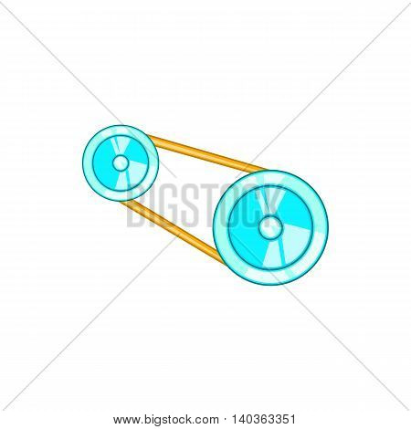 Timing belt icon in cartoon style on a white background
