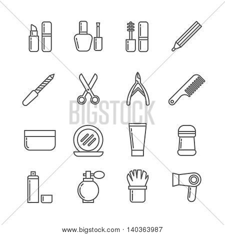 Cosmetics and beauty vector thin line icons. Set of cosmetic for women, collection of cosmetics lipstick and perfume illustration