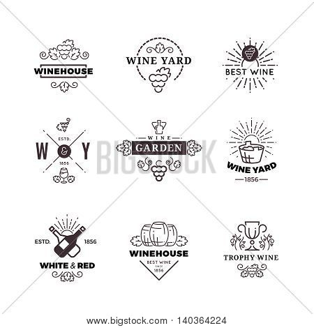 Hipster wine making grape and wine labels, logos, emblems set. Vector illustration