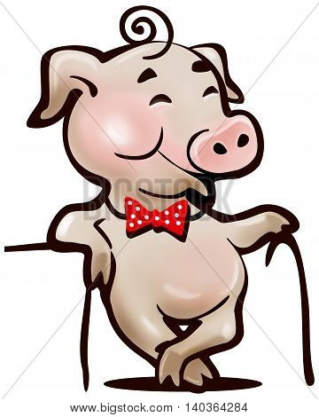 happy pig with a cane a simple cartoon