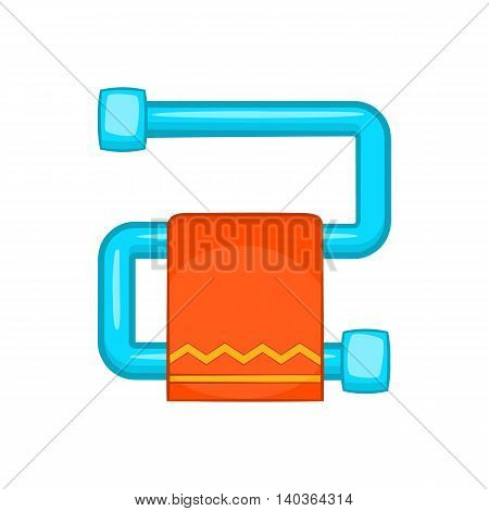Heated towel rail with orange towel icon in cartoon style on a white background