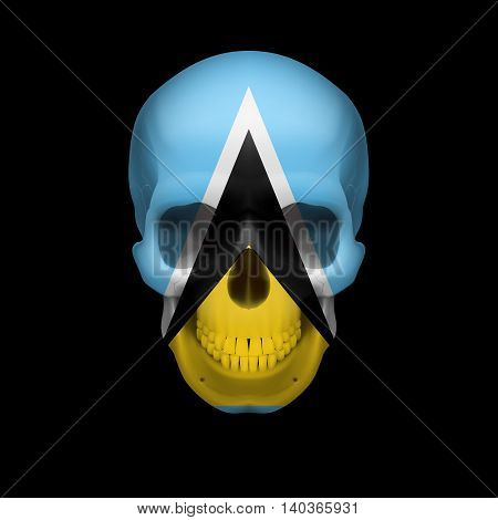 Human skull with flag of Saint Lucia. Threat to national security war or dying out