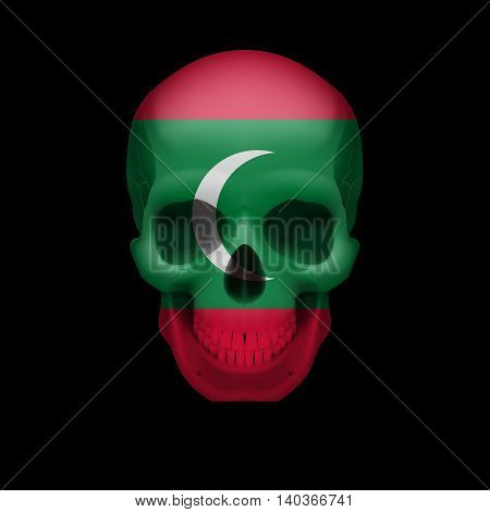 Human skull with flag of Maldives. Threat to national security war or dying out