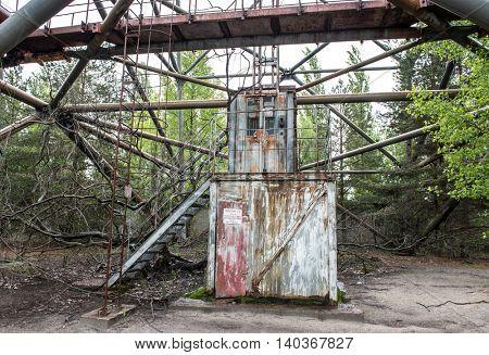 CHERNOBYL, UKRAINE-MAY,20: rusty elevator on abandoned radar station DUGA 3 on May 20, 2016 in Chernobyl