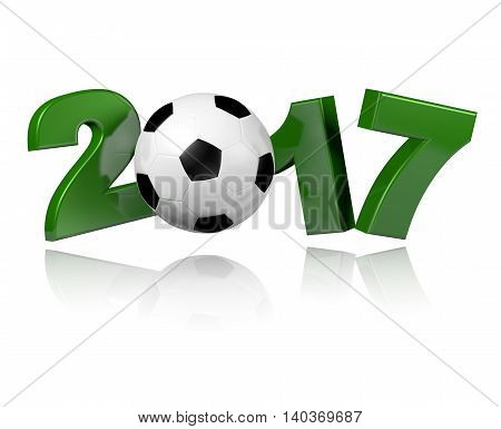 Football 2017 3D illustration with a white background