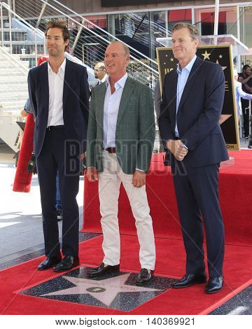 LOS ANGELES - JUL 28:  Sean Douglas, Michael Keaton, John Lee Hancock at the Michael Keaton Hollywood Walk of Fame Star Ceremony at the Hollywood Walk of Fame on July 28, 2016 in Los Angeles, CA