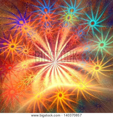 Fractal background with abstract firework star shapes. High detailed image.