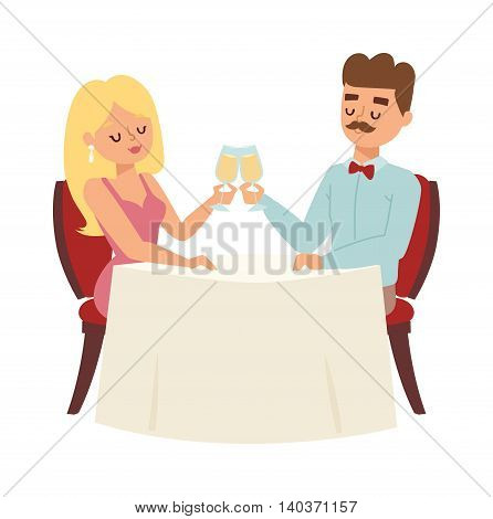 Young smiling dating couple enjoying meal restaurant and drinking. Man whispering to woman wine glass, dating couple restaurant.