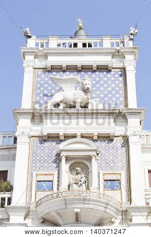St Mark's clocktower with the astronomical clock in Venice Italy