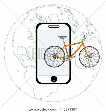 concept travel by bike around the world with the latest technology. vector illustration