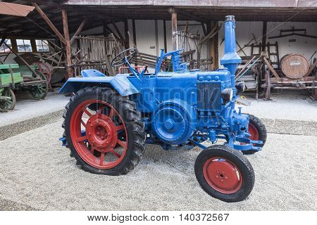 FRANKFURT GERMANY - JULY 23 2016: Historic Lanz Bulldog tractror from ca 1949. The Bulldog tractors were manufactured by Heinrich Lanz AG in Mannheim Baden-W