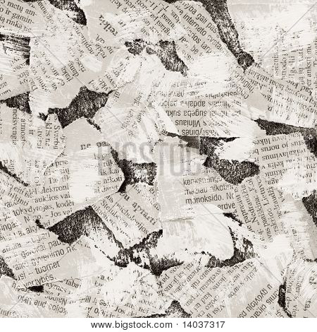 Grunge collage background made of torn newspaper